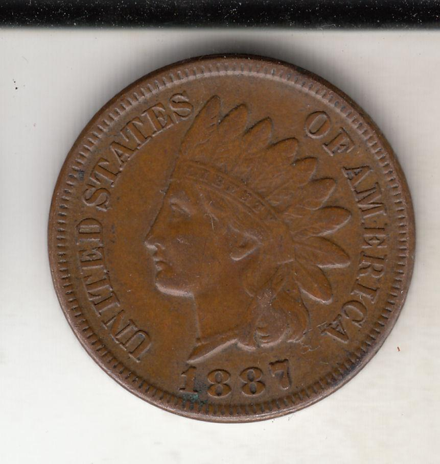 US Coin 1887 Indian Head Cent Penny GOOD-VG