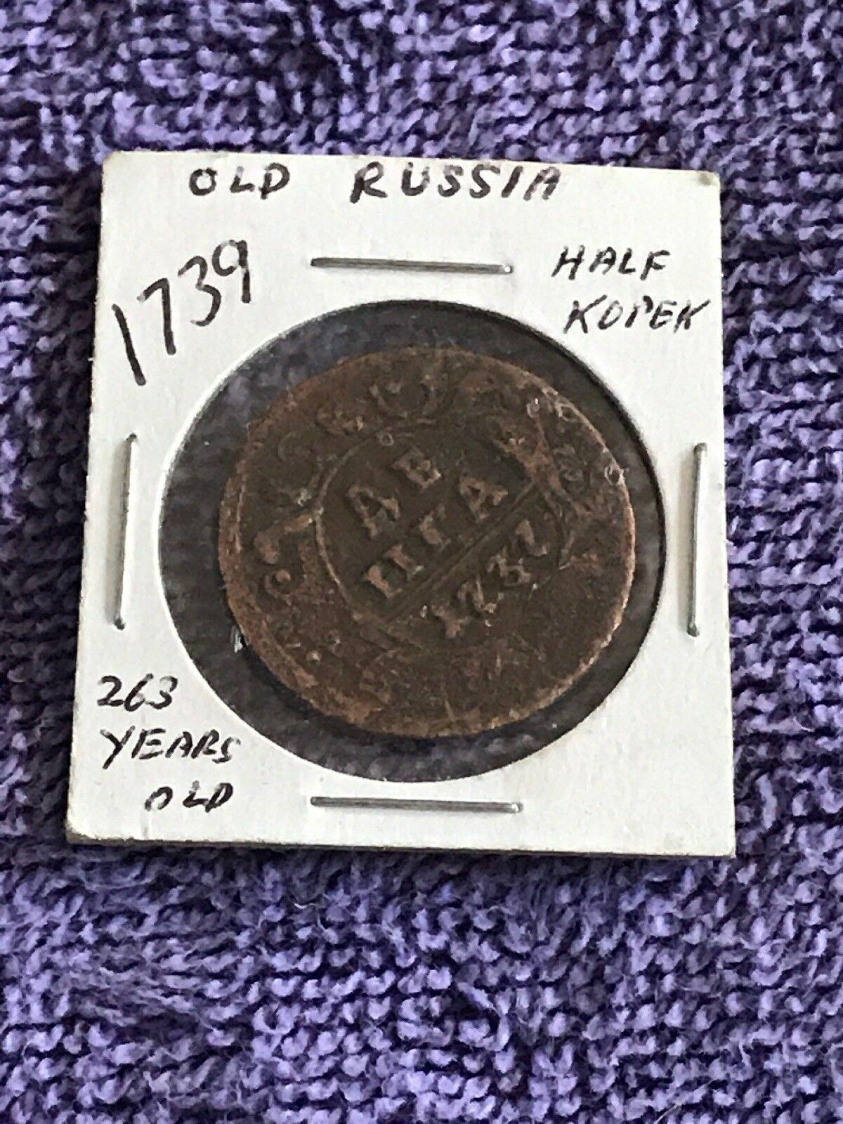 Russian Empire vintage copper rare coin 12 Kopek denga 1739 original,  Аукцион: Ebay от ...