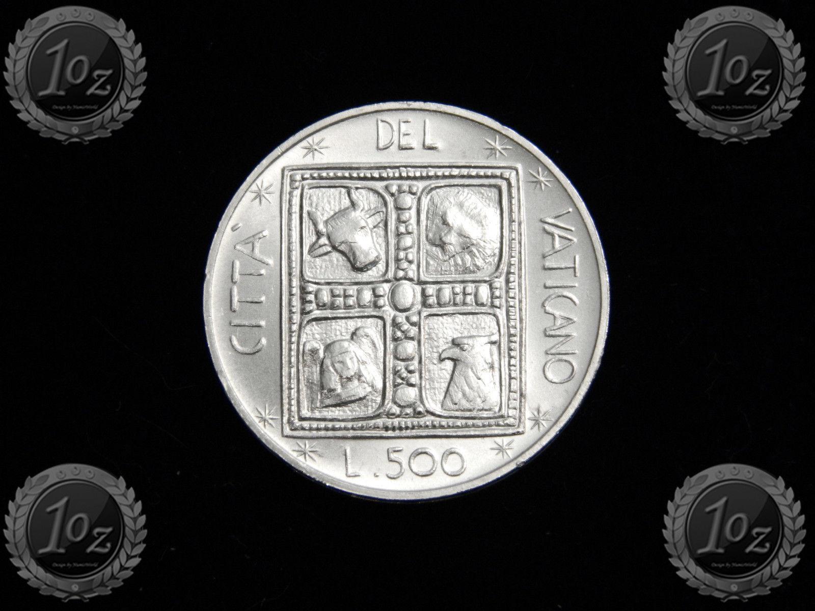 KM# 132 SILVER Commem UNC BOOK of EVANGELISTS VATICAN 500 LIRE 1977 coin